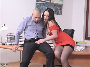 black-haired cutie poked throughout the desk