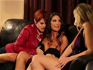 August Ames and Lily Cade strap on couch hump