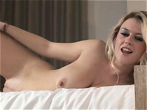 Brook little uncovers her fleshy chubby breasts