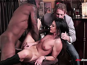 red-hot wife India Summer ejaculating on a ebony man-meat