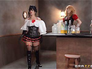 Saloon honey Rose Monroe takes it via table