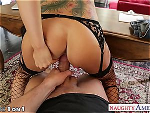 Alluring Romi Rain gets her clean-shaven cunt drilled