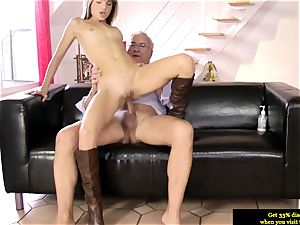 brit nubile ass-fucked deeply by elderly mans penis