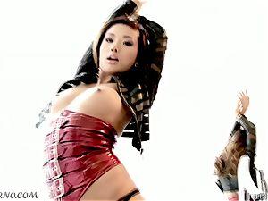 youthful asian female enjoys immense spears and hardcore