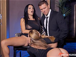 Anissa Kate and Subil arch slide some prick down their pinkish pretty tacos