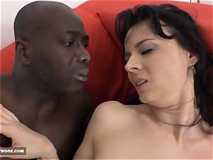 mummy tongues her lips and drinks the black dude money-shot