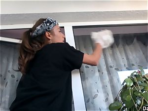 inexperienced girlfriend unclothing While Cleaning