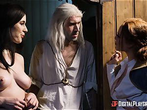 honeys Ella and Olive fantasy ravage with monster fuck-stick