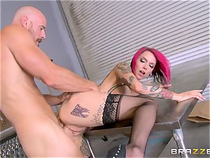 super-steamy boss Anna Bell Peaks rails her workers man-meat